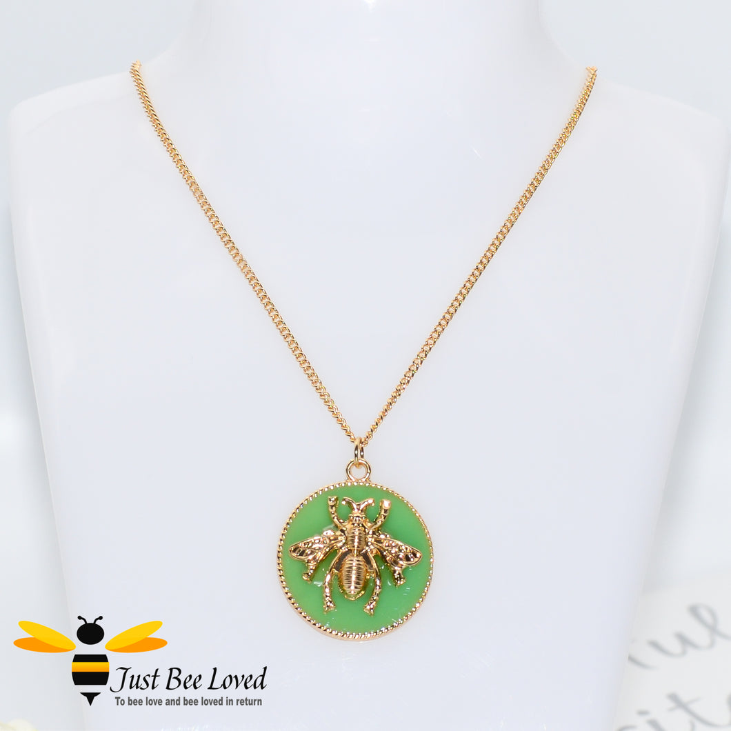 Handmade Glazed Disc Honey Bee Pendant Necklace Bee Trendy Fashion Jewellery