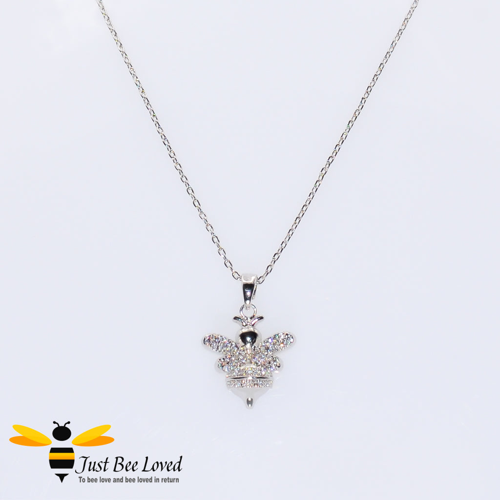 Cubic Zircon Silver Plated Bee Pendant Necklace