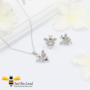 Cubic Zircon Silver Plated Bee Stud Earrings and matching bee pendant necklace Bee Trendy Fashion Jewellery