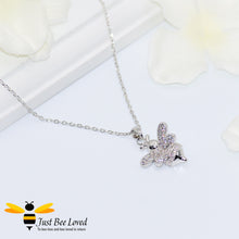 Load image into Gallery viewer, Cubic Zircon Silver Plated Bee Pendant Necklace Fashion Jewellery