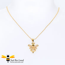 Load image into Gallery viewer, Cubic Zircon Gold Plated Bee Pendant Necklace Bee Trendy Fashion Jewellery