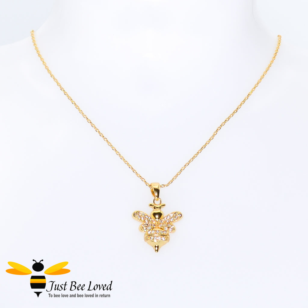 Cubic Zircon Gold Plated Bee Pendant Necklace Bee Trendy Fashion Jewellery