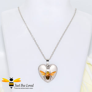 Queen Bee Murano Love Heart Pendant Necklace Bee Trendy Fashion Jewellery