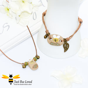 Handmade Small Clay Bee & Leaf Rope Bracelet & Matching Bee Clay Necklace Bee Trendy Fashion Jewellery