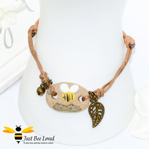 Handmade Small Clay Bee & Leaf Rope Bracelet Bee Trendy Fashion Jewellery