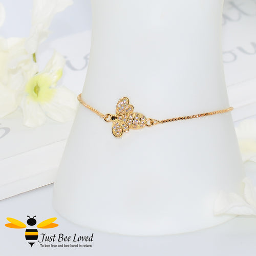 Cubic Zircon Bee Sliding Gold Plated Bracelet Bee Trendy Fashion Jewellery