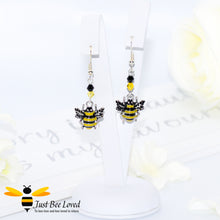 Load image into Gallery viewer, Just Bee Loved Handmade Silver Bee Drop Earrings Bee Trendy Fashion Jewellery