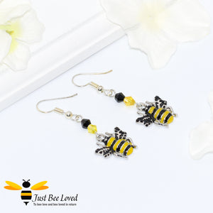 Just Bee Loved Handmade Silver Bee Drop Earrings Bee Trendy Fashion Jewellery
