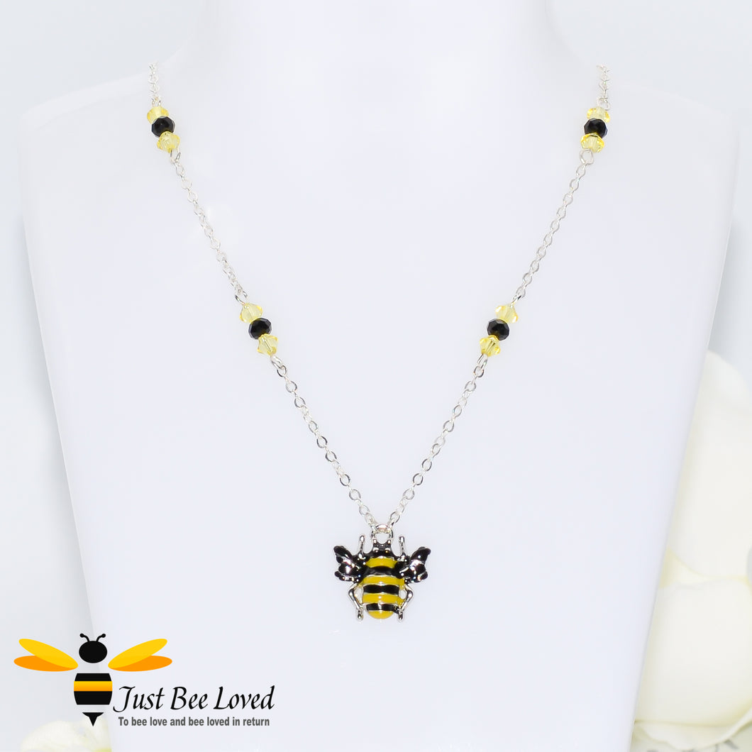 Just Bee Loved Handmade Silver Necklace with Bee and Beads Bee Trendy Fashion Jewellery