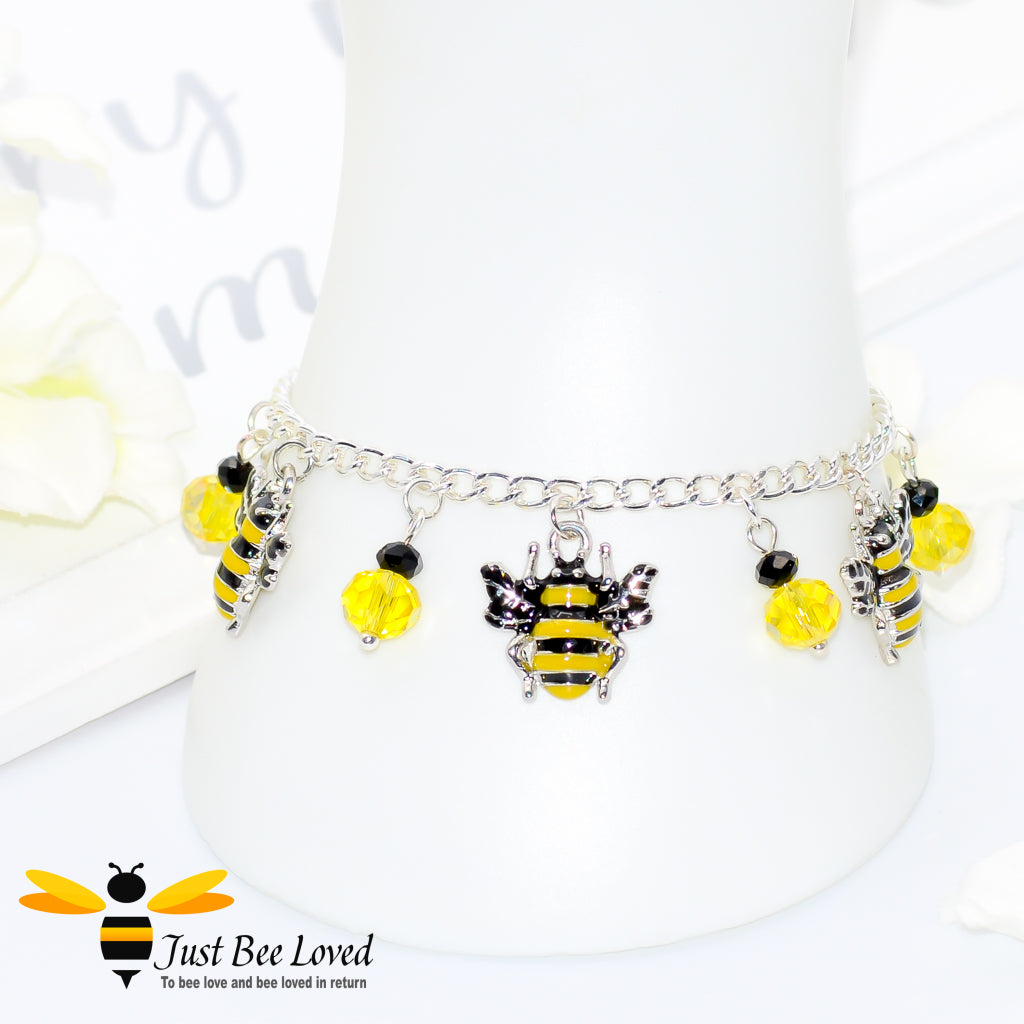 Just Bee Loved Handmade Silver Bee Charm Bracelet with black and yellow beads Bee Trendy Fashion Jewellery