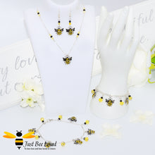 Load image into Gallery viewer, Just Bee Loved Bee Silver Jewellery 4 piece set Bracelet Earrings Necklace Anklet Bee Trendy Fashion Jewellery