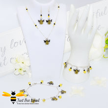 Load image into Gallery viewer, Just Bee Loved Handmade Silver Bee Charms Jewellery Set Bracelet Earrings Necklace Anklet Bee Trendy Fashion Jewellery