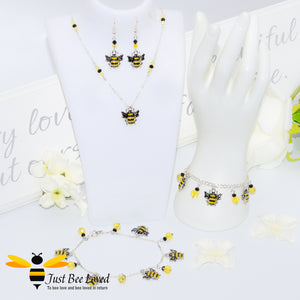 Just Bee Loved Handmade Silver Bee Charms Jewellery Set Bracelet Earrings Necklace Anklet Bee Trendy Fashion Jewellery