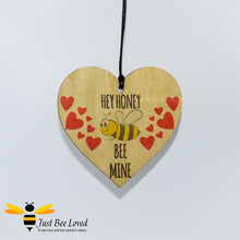 "Load image into Gallery viewer, ""Honey Bee Mine"" Wooden Love Heart Mini Hanging Sign featuring a bumblebee and love hearts"
