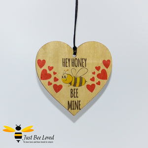 """Honey Bee Mine"" Wooden Love Heart Mini Hanging Sign featuring a bumblebee and love hearts"