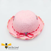 Load image into Gallery viewer, Girl's Pink Crocheted Straw Bowler Hat with Embroidered Bees and ribbons