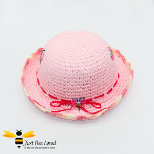 Girl's Pink Crocheted Straw Bowler Hat with Embroidered Bees and ribbons