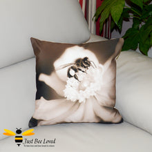 Load image into Gallery viewer, Just Bee Loved Home Decor Large Scatter Cushion with Honeybee photographic print by Landscape & Nature Photographer Yasmin Flemming