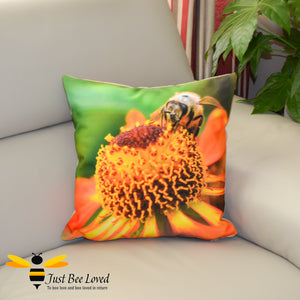 Just Bee Loved Large Scatter Cushion with Honeybee photographic Print