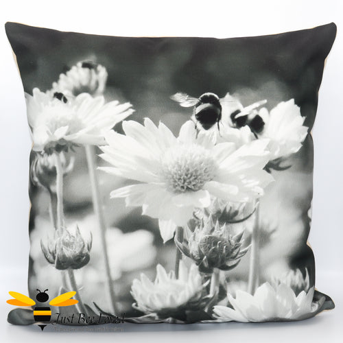 Just Bee Loved Home Decor Large scatter Cushion with Bumblebees and daisy photographic print by Landscape & Nature Photographer Yasmin Flemming