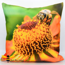 Load image into Gallery viewer, Just Bee Loved Large Scatter Cushion with Honeybee photographic Print