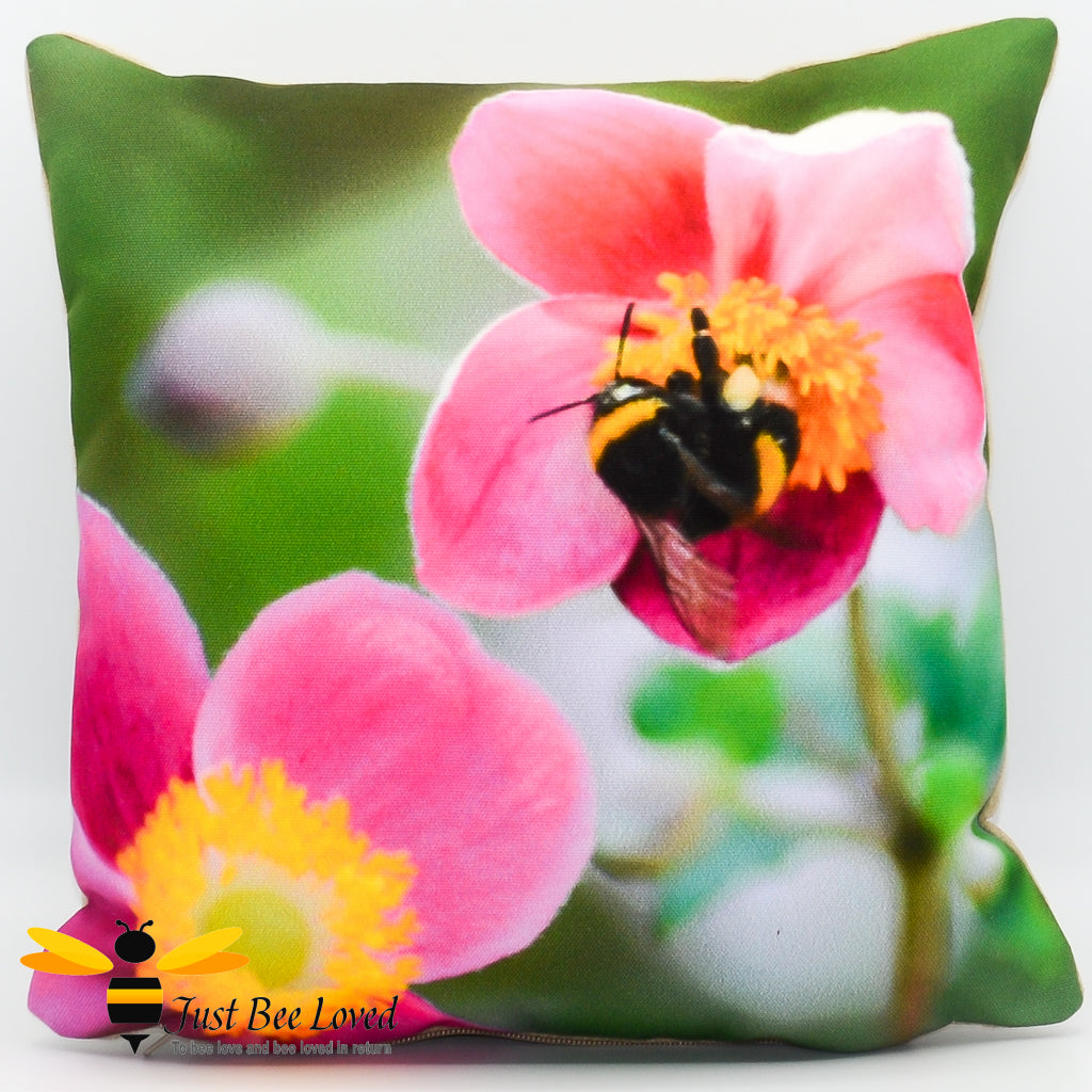 Just Bee Loved Small Scatter Cushion with Bumblebee Photographic print by Landscape & Nature Photographer Yasmin Flemming