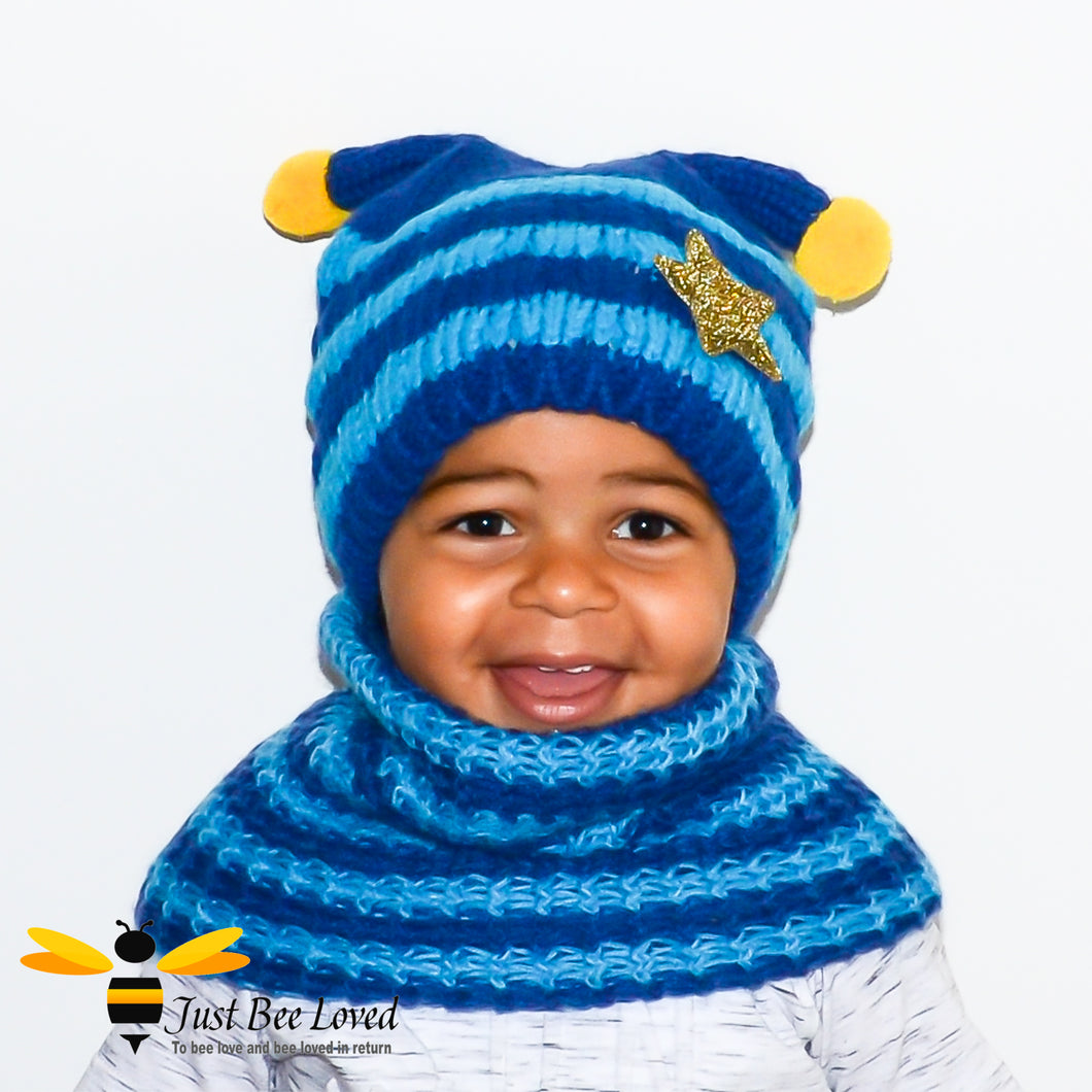 Children's Knitted Bee Beanie Hat & Snood Set - Blue