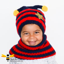 Load image into Gallery viewer, Children's Knitted Bee Beanie Hat & Snood Set - Red