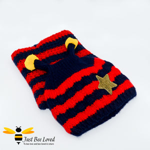 Children's Knitted Bee Beanie Hat & Snood Set - Red