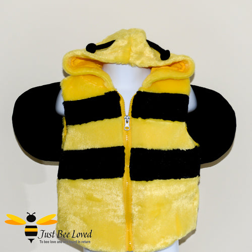 Children's Plush Hooded Bumblebee gilet with wings and antennae in black and yellow