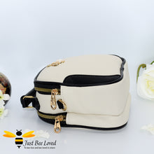 Load image into Gallery viewer, Just Bee Loved Bee Embellished PU Leather Crossbody Handbag with gold and pearl bee, in colours cream and black