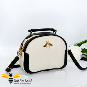 Just Bee Loved Bee Embellished PU Leather Crossbody Handbag with gold and pearl bee, in colours cream and black