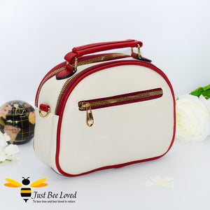 Just Bee Loved Bee Embellished PU Leather Crossbody Handbag with gold and pearl bee, in colours cream and red