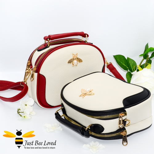 Just Bee Loved Bee Embellished PU Leather Crossbody Handbag with gold and pearl bee, in colours cream and red, and cream and black