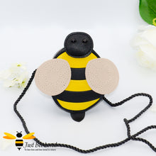 Load image into Gallery viewer, Cute girl's bumble bee PU Leather small cross body zipped purse handbag with black and yellow stripes and rope strap