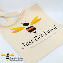 Load image into Gallery viewer, Just Bee Loved Canvas Tote Shopper Bag with signature Bee logo graphic print