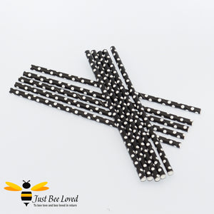 Black White Polka Dot Party Paper Straws Bee Party Supplies & Fancy Dress