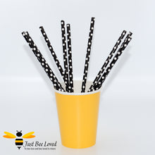 Load image into Gallery viewer, Black White Polka Dot Party Paper Straws Bee Party Supplies & Fancy Dress