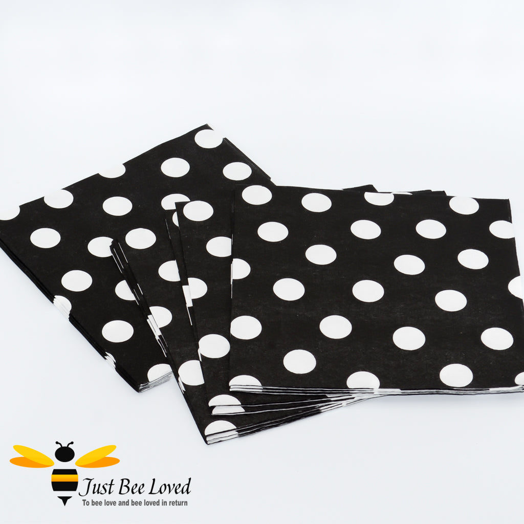 Black White Polka Dots Paper Party Napkins Bee Party Supplies & Fancy Dress