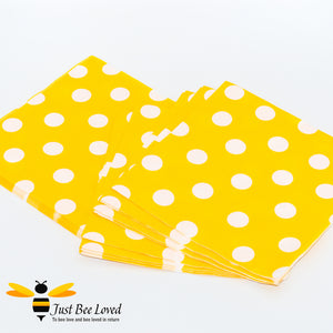 Yellow White Polka Dots Paper Party Napkins Bee Party Supplies & Fancy Dress
