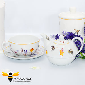 Fine China Busy Bees Tea For One Set featuring watercolour design of bumblebees in a field of flowers from the Jennifer Rose Busy Bees Leonardo Collection
