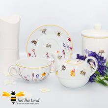 Load image into Gallery viewer, Fine China Busy Bees Tea For One Set featuring watercolour design of bumblebees in a field of flowers from the Jennifer Rose Busy Bees Leonardo Collection