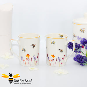 Fine China Busy Bees 2 Piece Mug Set featuring watercolour design of bumblebees in a field of flowers from the Jennifer Rose Busy Bees Leonardo Collection