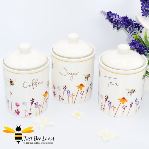 Tea Coffee Sugar Canister Set from the Busy Bees Jennifer Rose Leonardo Collection