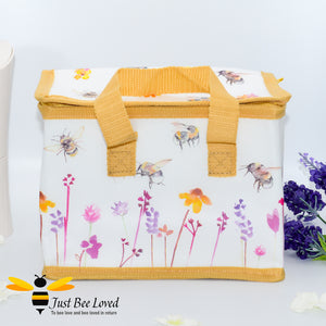 "Thermal Lunch Picnic Bag from the Jennifer Rose ""Busy Bees"" Leonardo Collection decorated with Bees and flowers print"