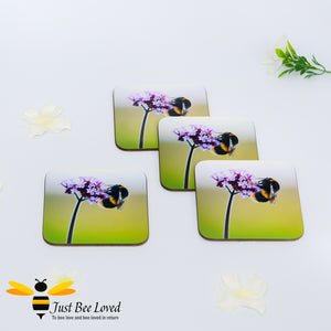 Just Bee Loved Bumblebee and Verbena Photographic Coaster Set of four by Landscape and Nature Photographer Yasmin Flemming