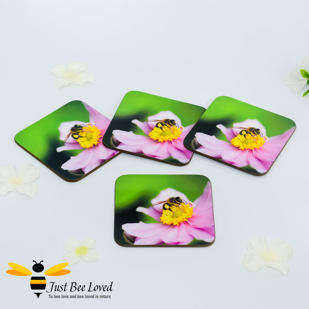 Just Bee Loved Honey Bee Collecting Pollen Photographic Coaster Set of four by Landscape & Nature Photographer Yasmin Flemming