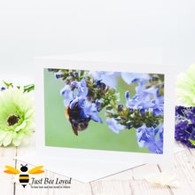 Load image into Gallery viewer, Bumblebee and Blue Saliva Blank Photographic Greeting Card image by Landscape & Nature Photographer Yasmin Flemming