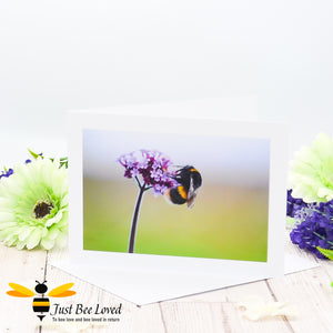 Bumblebee and Verbena Flower Photographic Blank Greeting Card image by Landscape & Nature Photographer Yasmin Flemming
