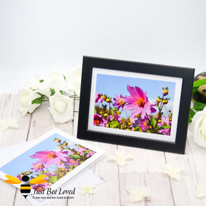 Bee and Bug in Field of Flowers Photographic Blank Greeting Card image by Landscape & Nature Photographer Yasmin Flemming